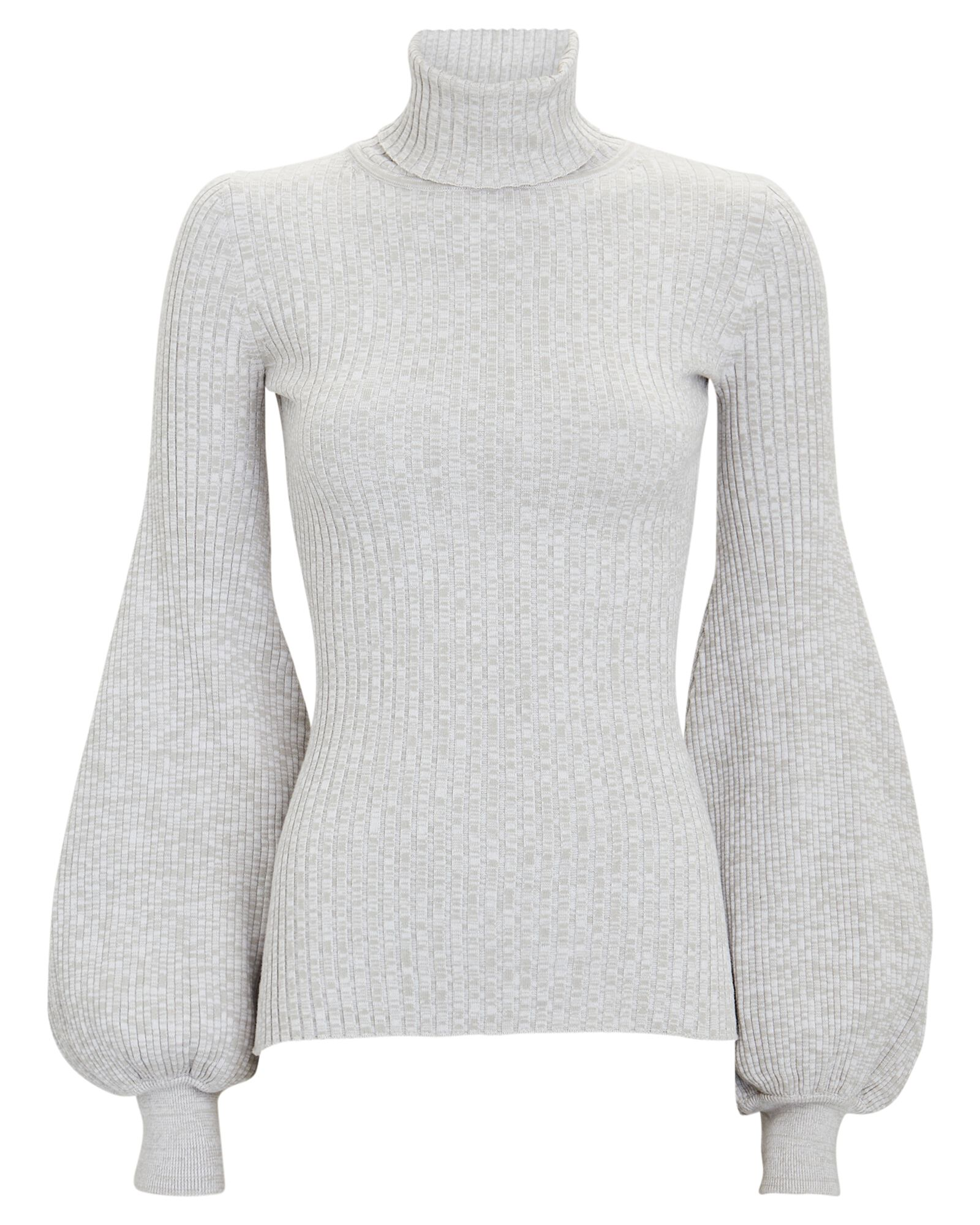 Yara Rib Knit Turtleneck Top, LIGHT GREY, hi-res