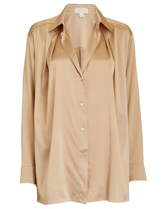 Silk Button-Down Shirt, BEIGE, hi-res