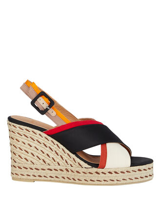 Barbara Espadrille Wedges, NAVY/CREAM/RED, hi-res