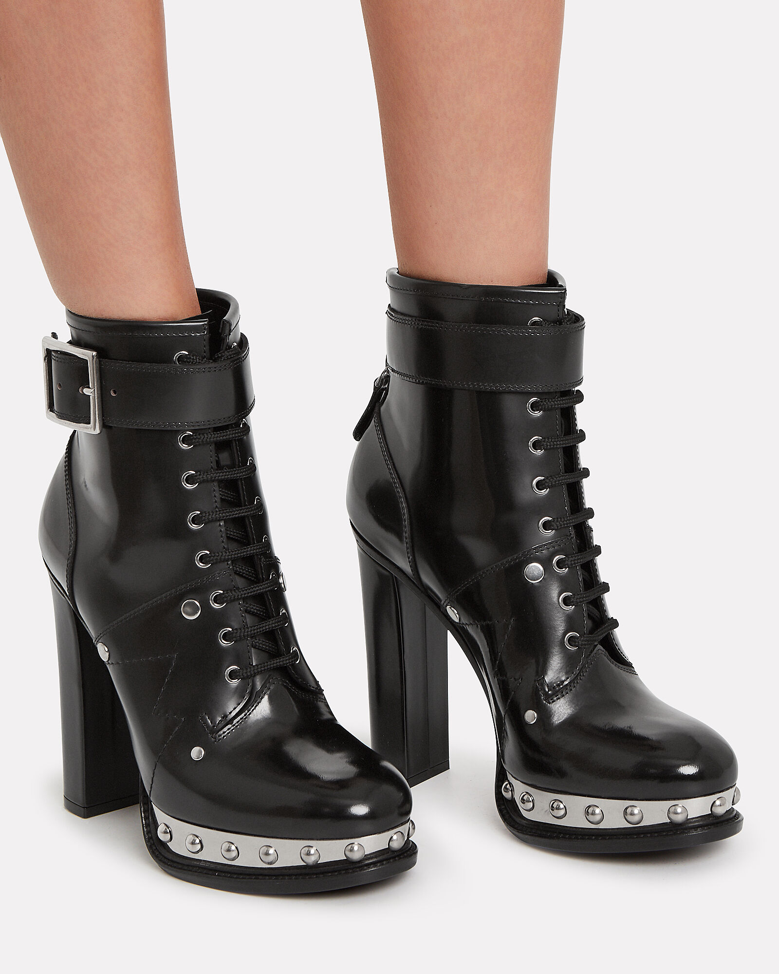 Silver Sole Lace-Up Ankle Boots, BLACK, hi-res