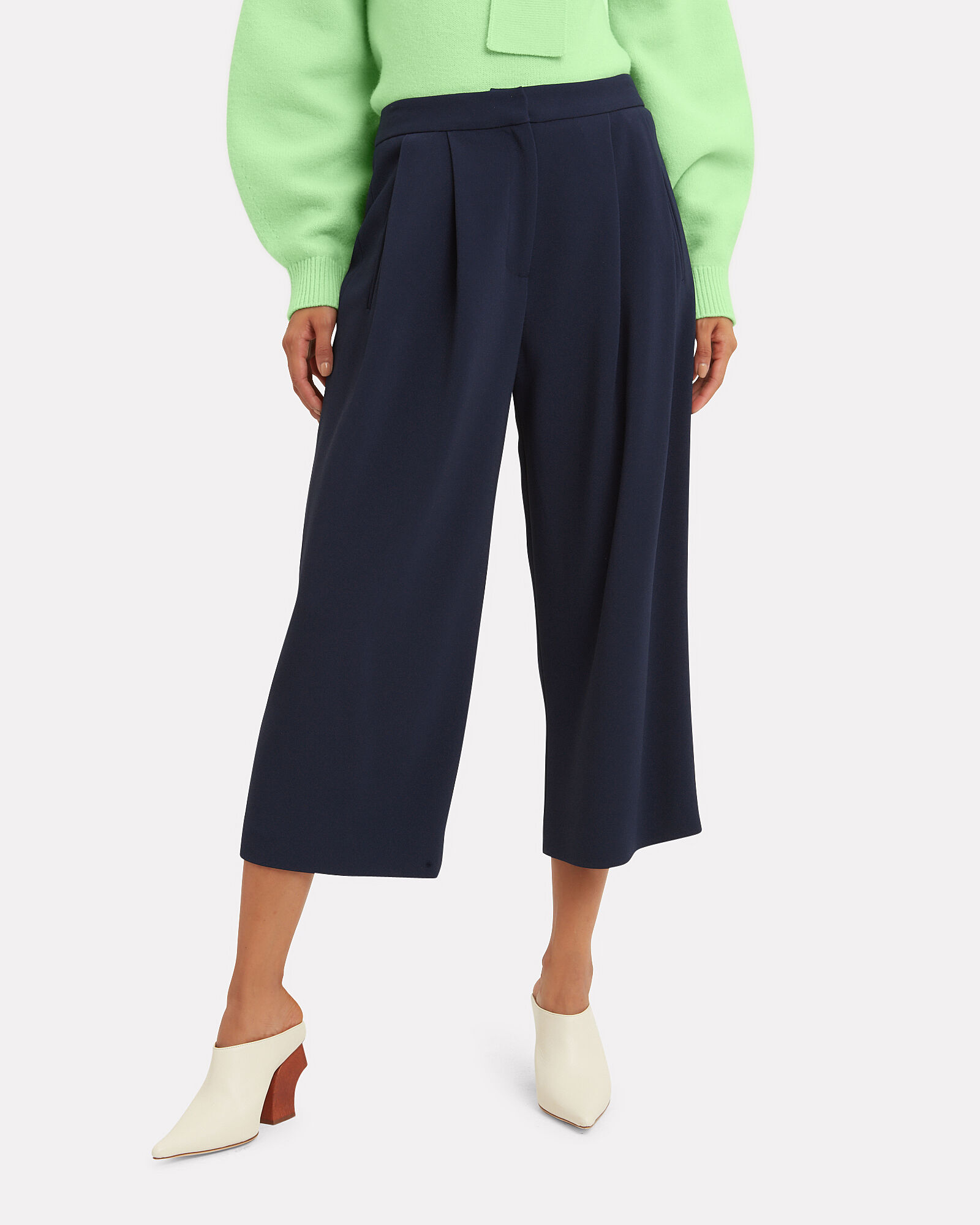 Cady Pleated Culottes, NAVY, hi-res