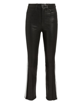 Striped Cigarette Leather Pants, BLACK, hi-res