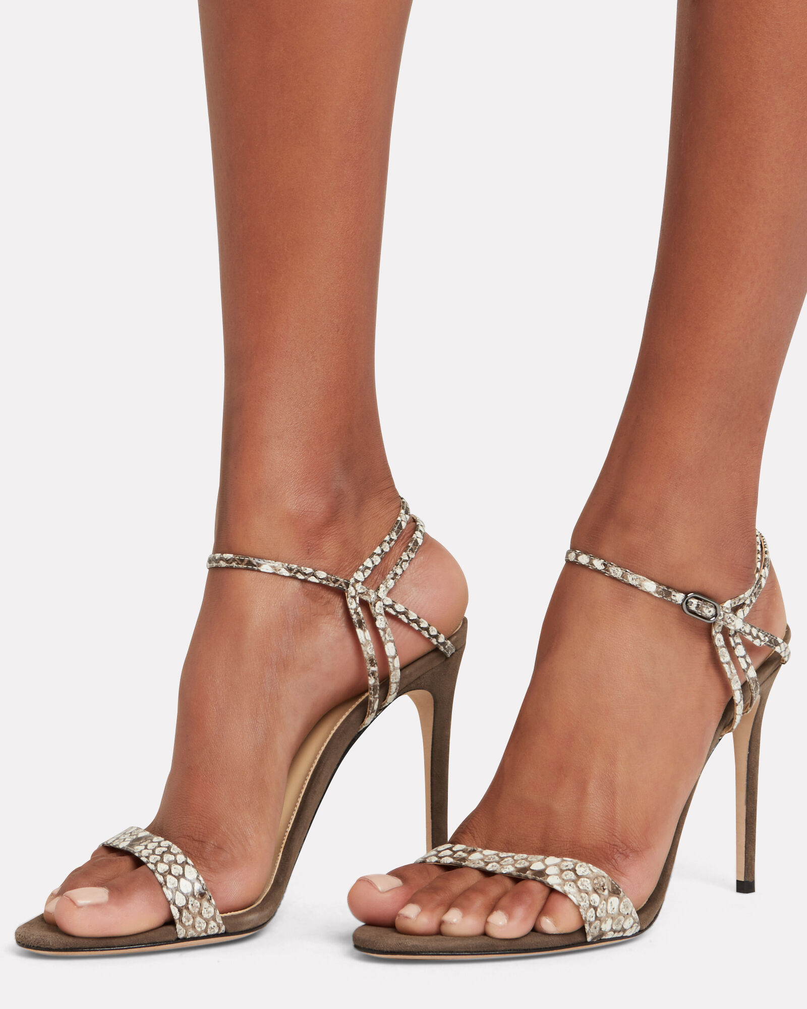 Sirena 100 Python-Embossed Sandals, GREY, hi-res