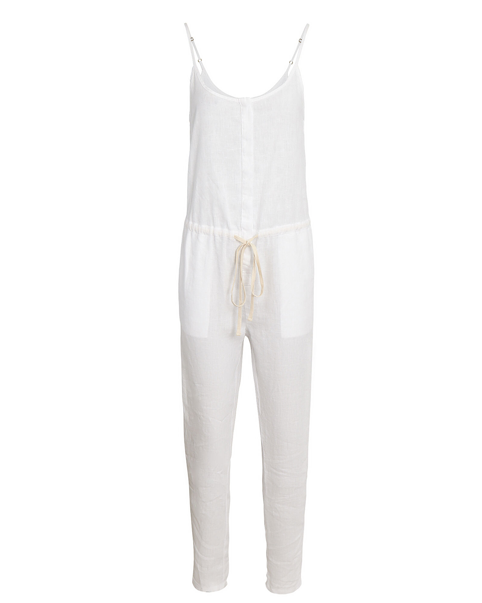 Strappy French Linen Jumpsuit, WHITE, hi-res