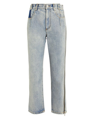 Zipper Seam Jeans, LIGHT WASH DENIM, hi-res