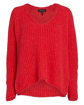 Joseph V-Neck Sweater, BRIGHT CORAL, hi-res
