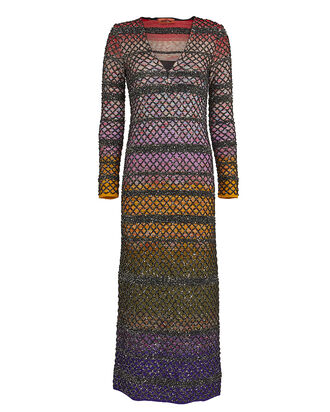 Knit Lurex Midi Dress, BLACK/PURPLE/ORANGE, hi-res