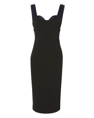 Black Trompe L'Oeil Fitted Dress, BLACK, hi-res