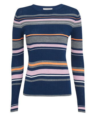 Panel Striped Ribbed Blue Sweater, BLUE/STRIPE, hi-res