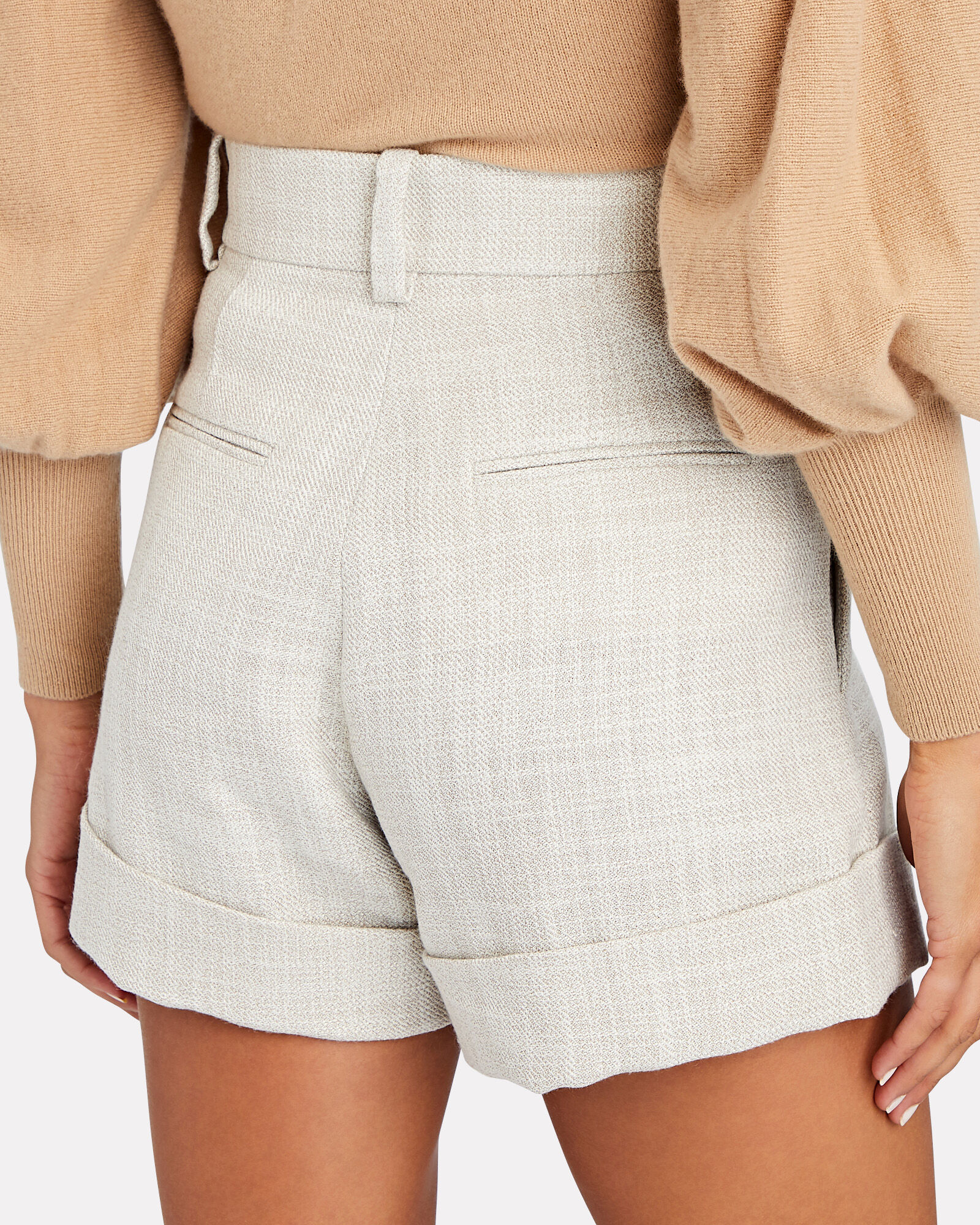 Kings Pleated High-Rise Shorts, LIGHT GREY, hi-res