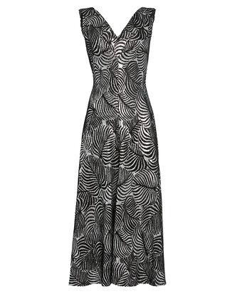 Leaf Jacquard Midi Dress, SILVER, hi-res