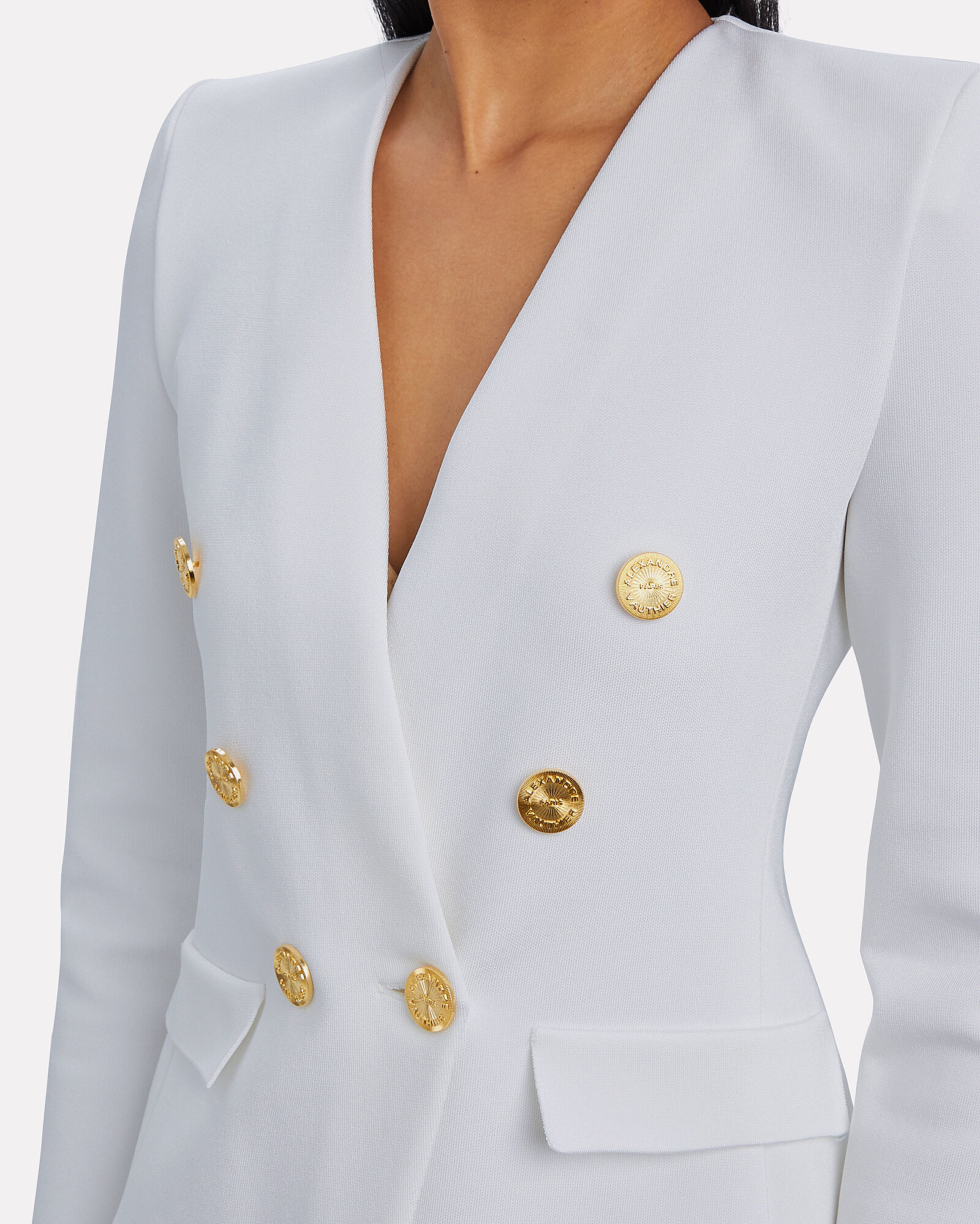 Double-Breasted Knit Blazer, WHITE, hi-res
