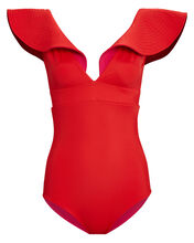 Quetzal Reversible One-Piece Swimsuit, RED, hi-res