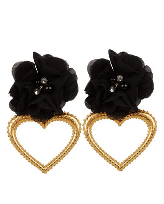Margot Heart Flower Earrings, BLACK/GOLD, hi-res