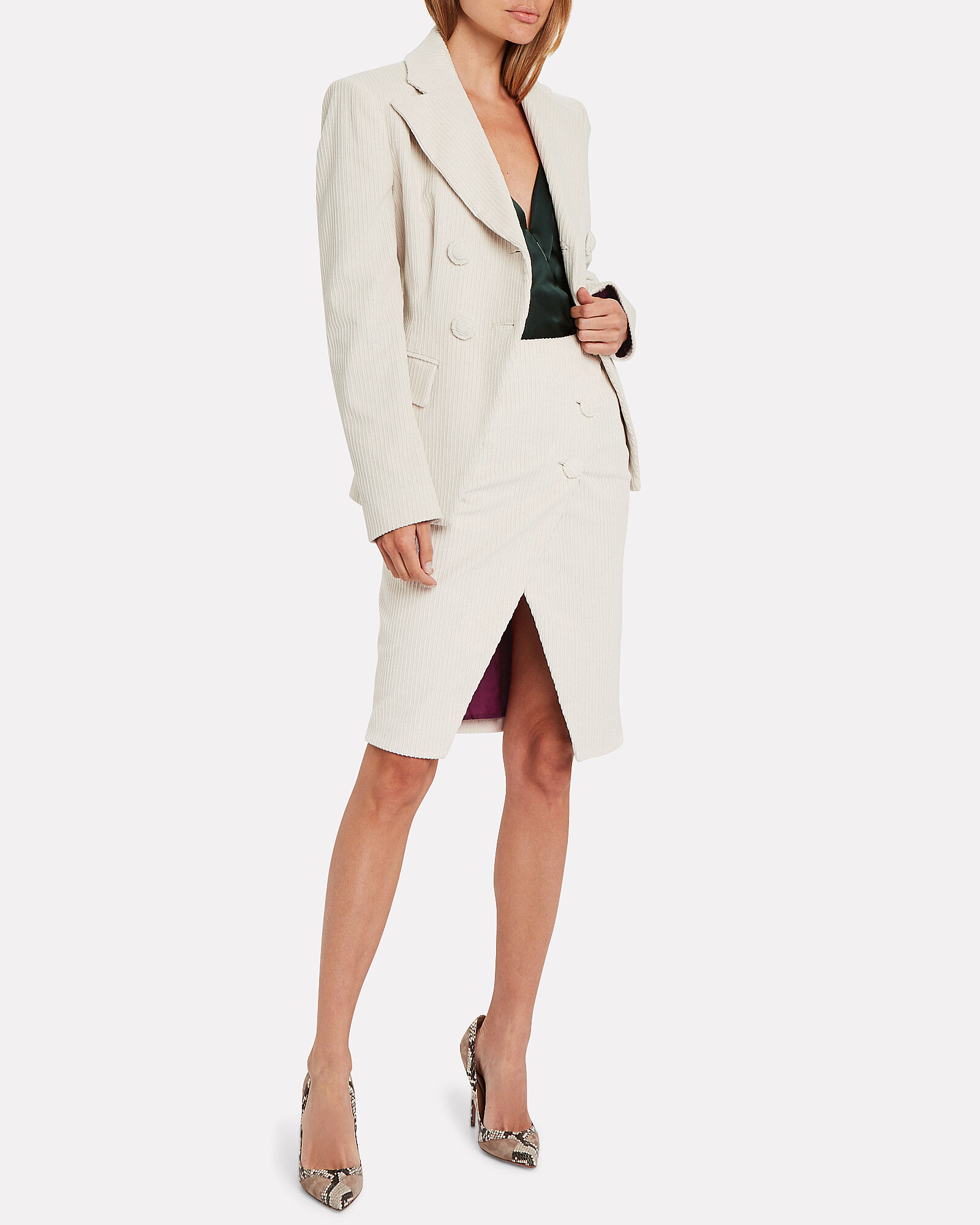 Corduroy Double Breasted Blazer, IVORY, hi-res