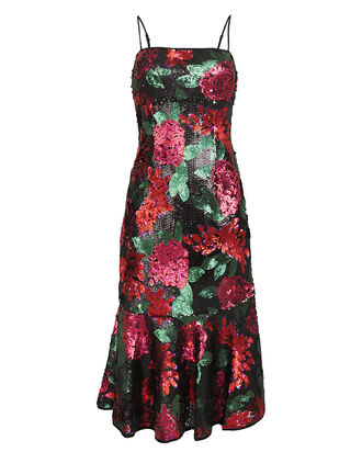 Deirdre Floral Sequin Dress, BLACK/FLORAL, hi-res
