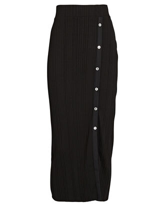 Wave Rib Button-Front Midi Skirt, , hi-res