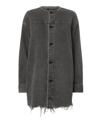 Collarless Grey Denim Jacket, , hi-res