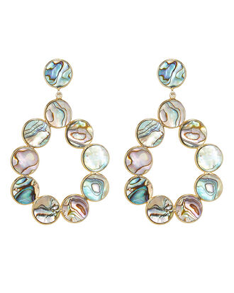 Gin Abalone Shell Drop Earrings, GREEN, hi-res