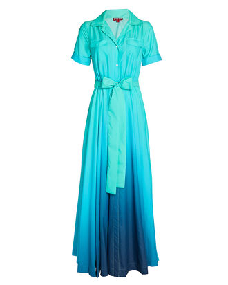 Millie Belted Maxi Shirt Dress, BLUE, hi-res