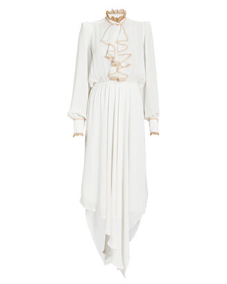 Lace-Trimmed Crepe Ruffle Front Dress, IVORY, hi-res