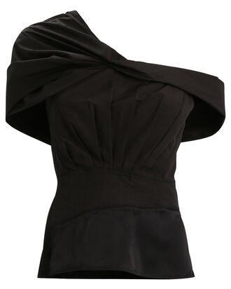 Pleated One-Shoulder Top, BLACK, hi-res