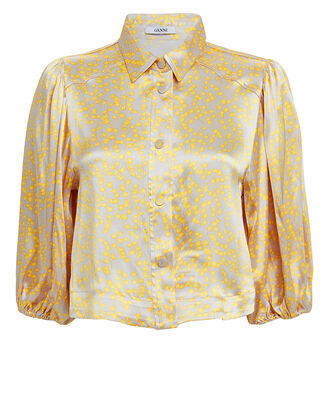 Floral Satin Blouse, YELLOW/FLORAL, hi-res