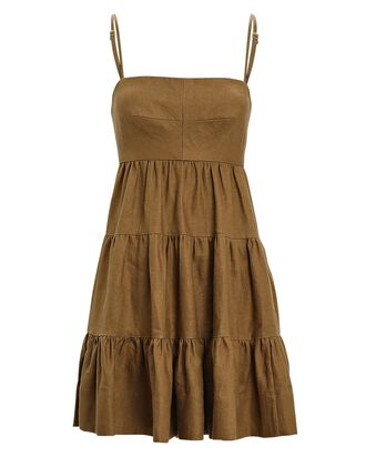 Lucille Tiered Linen Mini Dress, OLIVE BROWN, hi-res