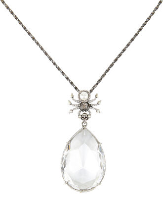 Spider Crystal Droplet Necklace, WHITE, hi-res