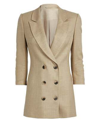 Double-Breasted Long Beige Blazer, BEIGE, hi-res