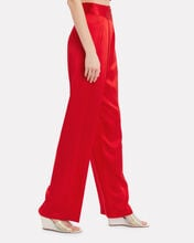 Silk Charmeuse Wide Leg Pants, RED, hi-res