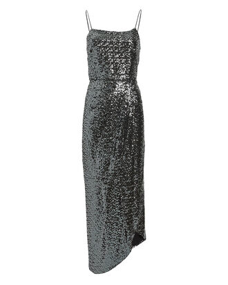 Lexis Sequined Sarong Dress, SILVER, hi-res