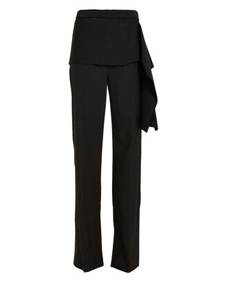 Side Tie Tailored Trousers, BLACK, hi-res