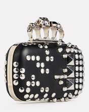 Studded Leather Four Ring Clutch, BLACK, hi-res