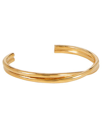Twisted Thin Gold Cuff, GOLD, hi-res