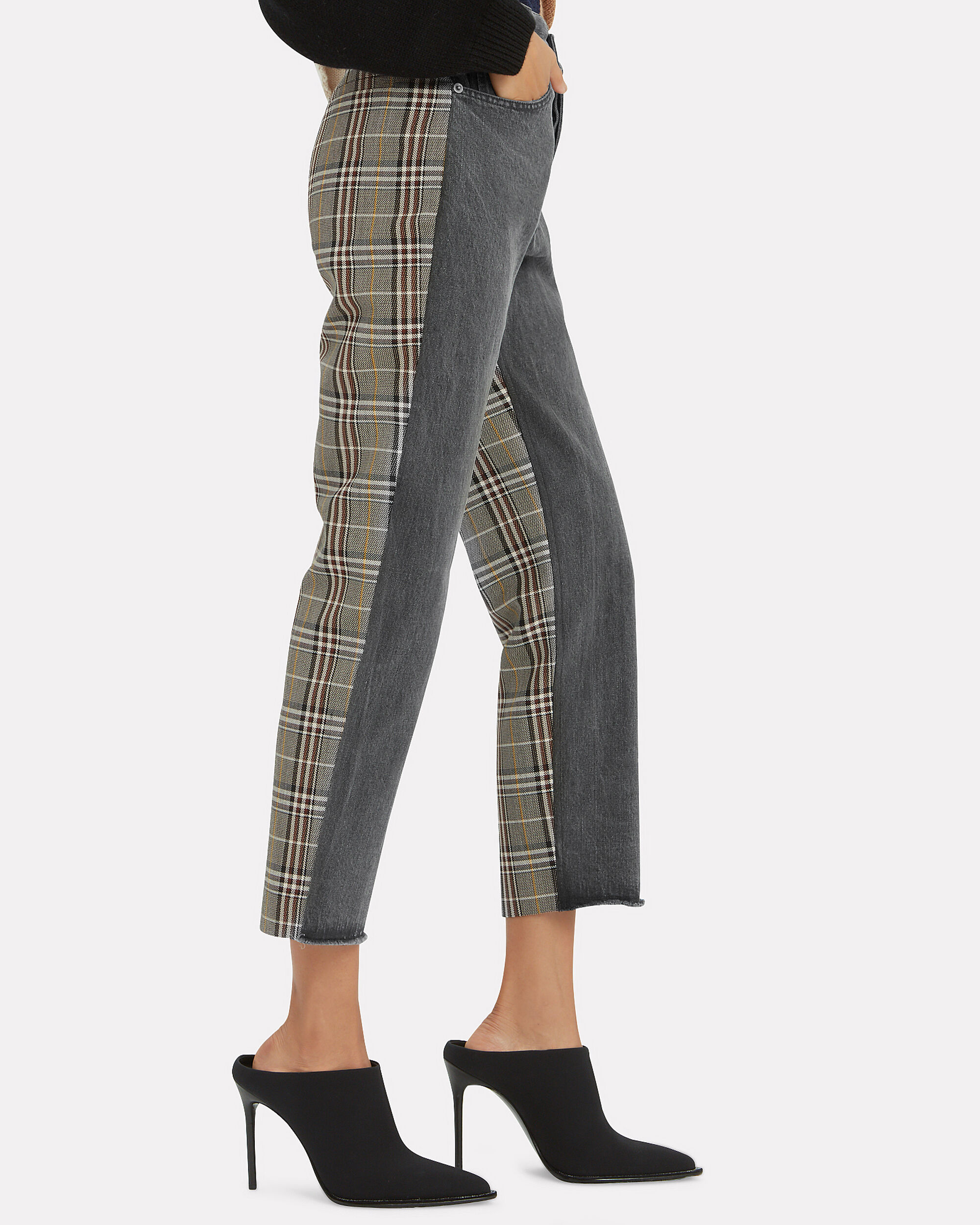 Half Black Half Plaid Jeans, BLACK, hi-res