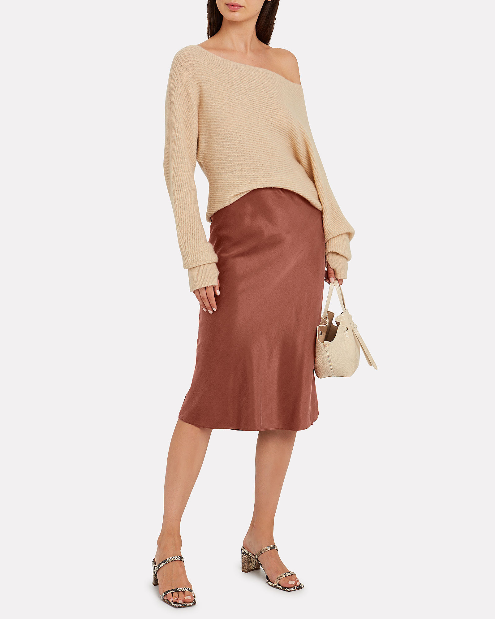 Misha Washed Satin Midi Skirt, ORANGE, hi-res