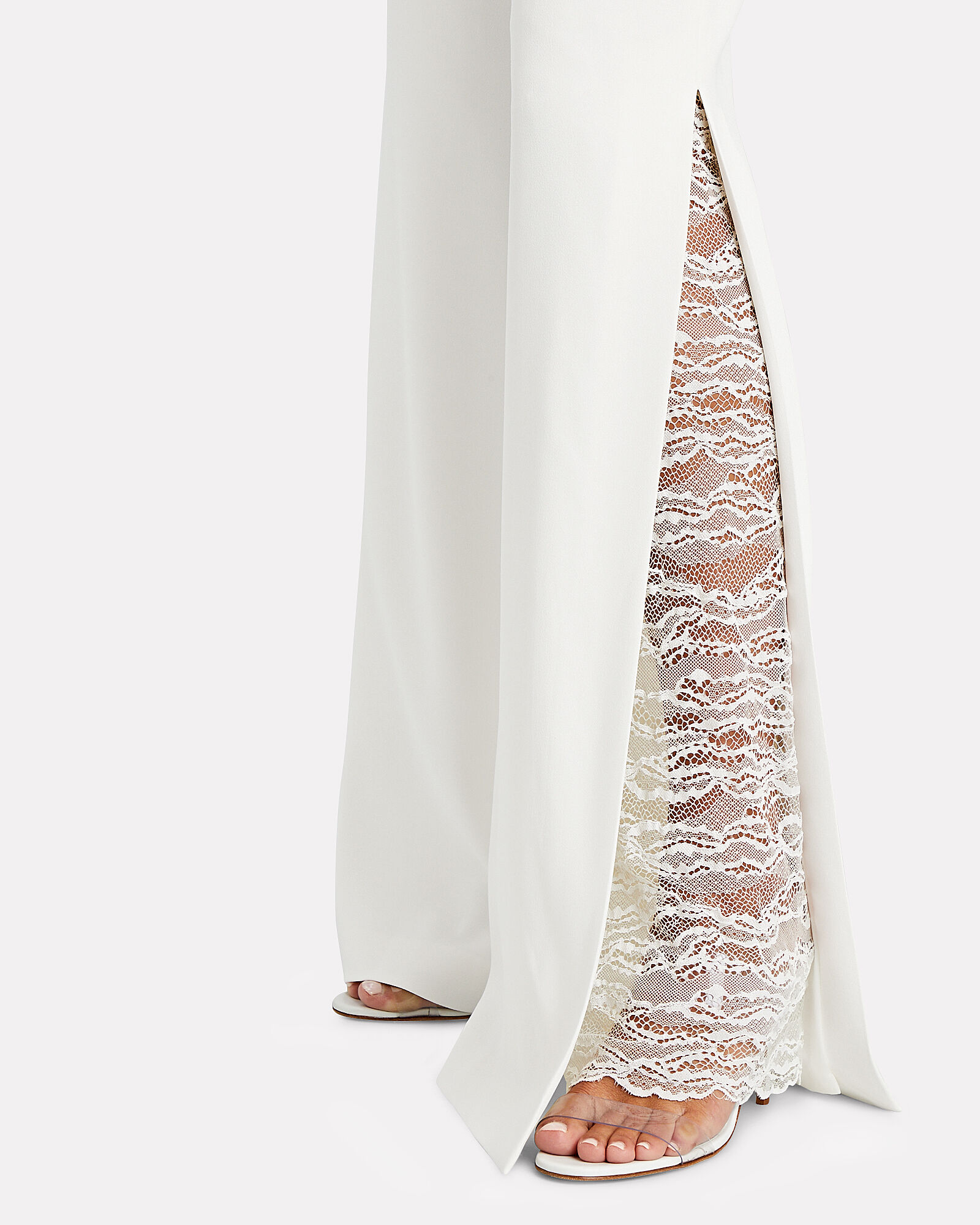 Lace-Trimmed Wide-Leg Trousers, WHITE, hi-res