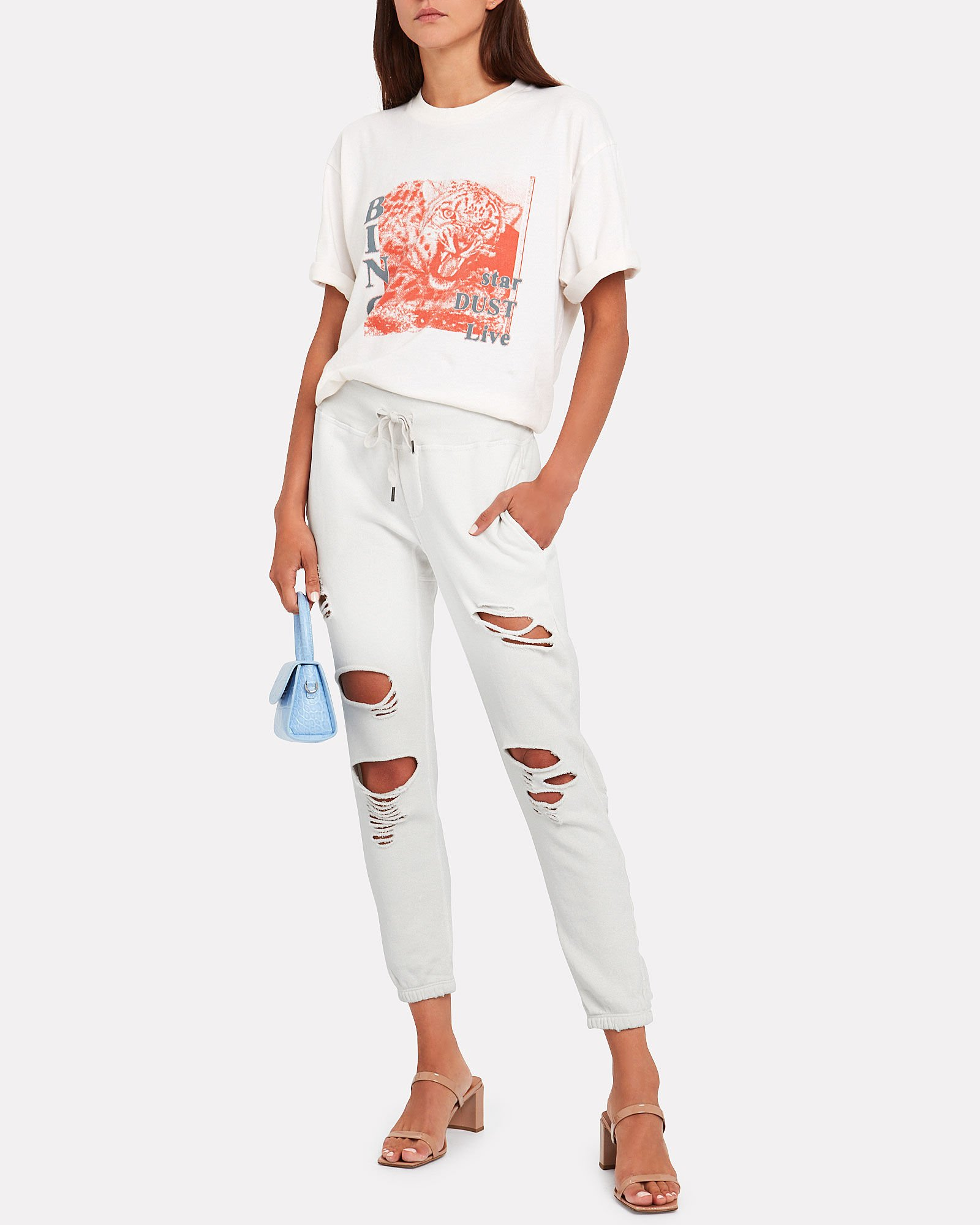 Sayde Distressed French Terry Sweatpants, SOFT WHITE, hi-res