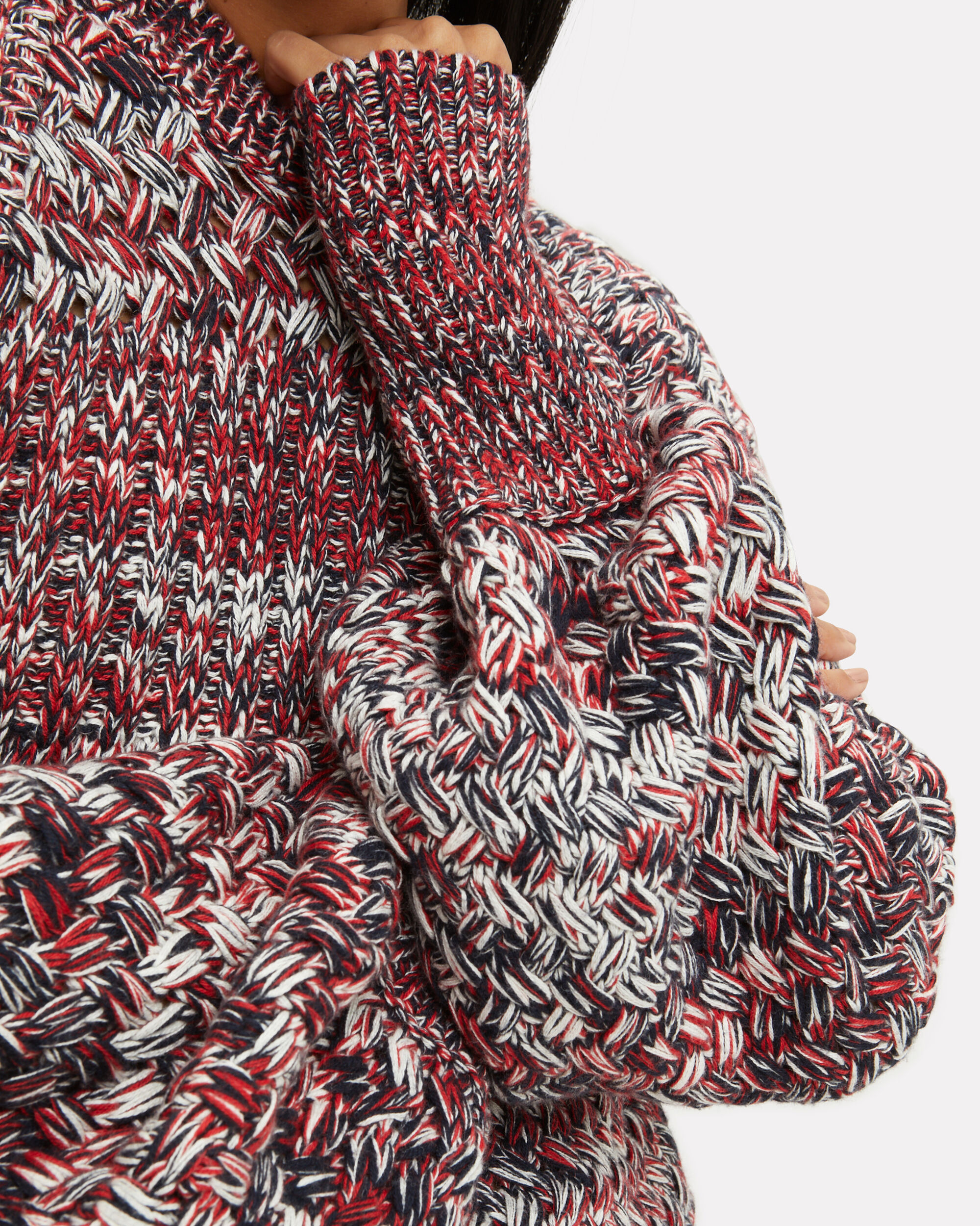 Melange Crew Neck Sweater, RED/WHITE/NAVY, hi-res
