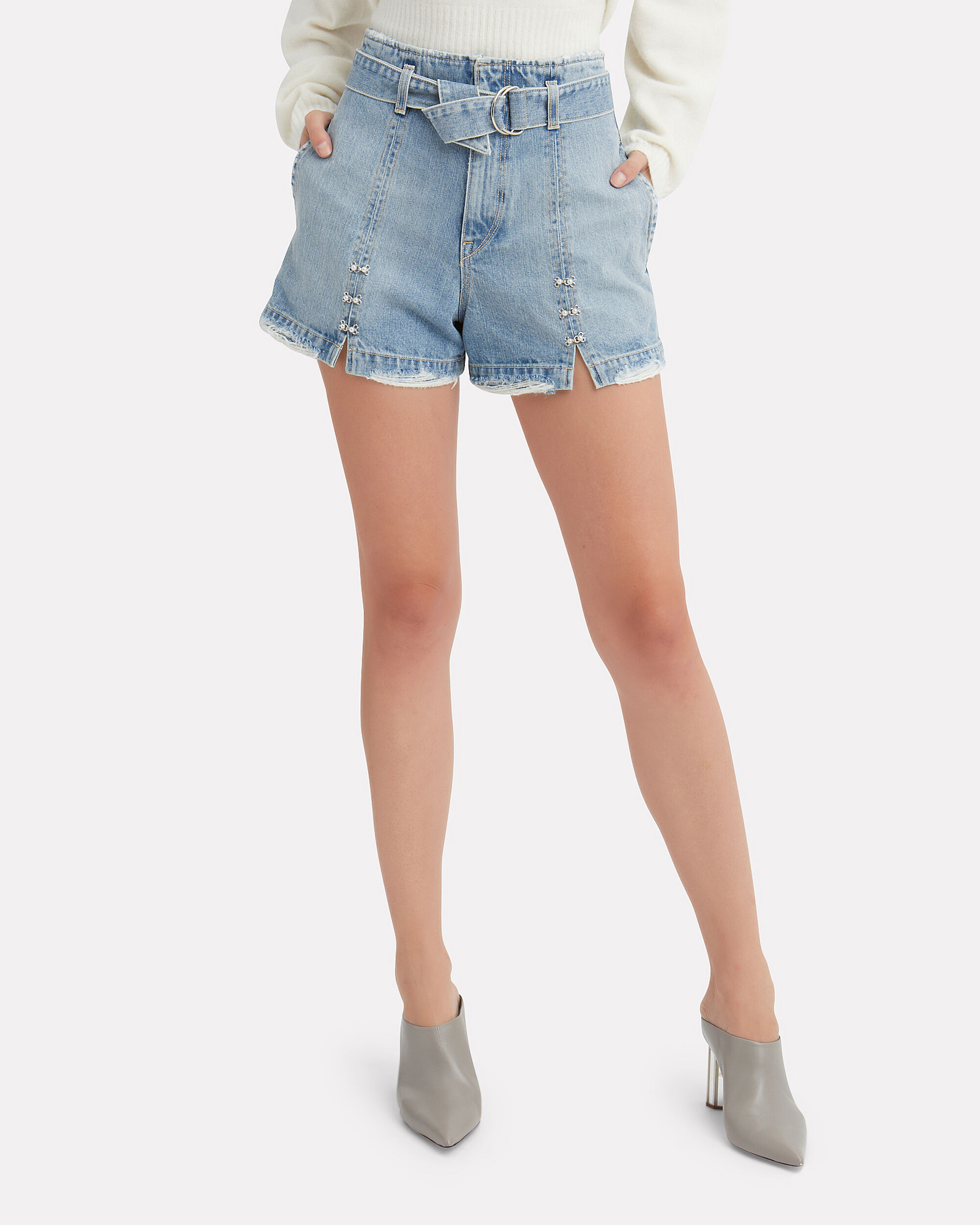 Pearl Detail Belted Denim Shorts, DENIM, hi-res
