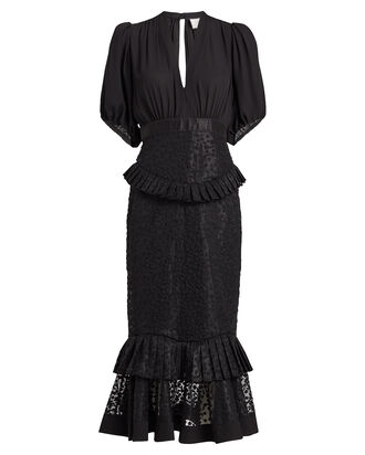 Dilarra Embroidered Chiffon Dress, BLACK, hi-res