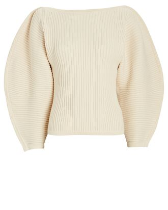 Nasira Sculpted Cotton Sweater, IVORY, hi-res