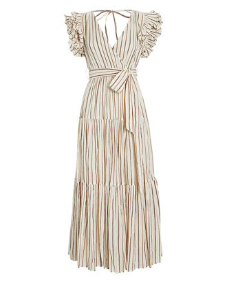 Lilliana Lurex Striped Voile Dress, IVORY, hi-res