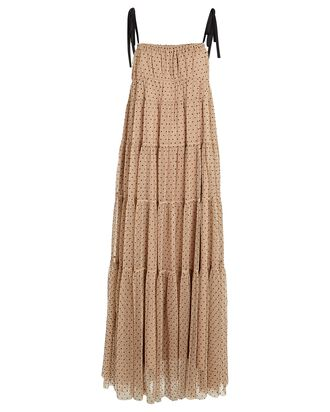 Lilia Polka Dot Tulle Maxi Dress, BEIGE, hi-res