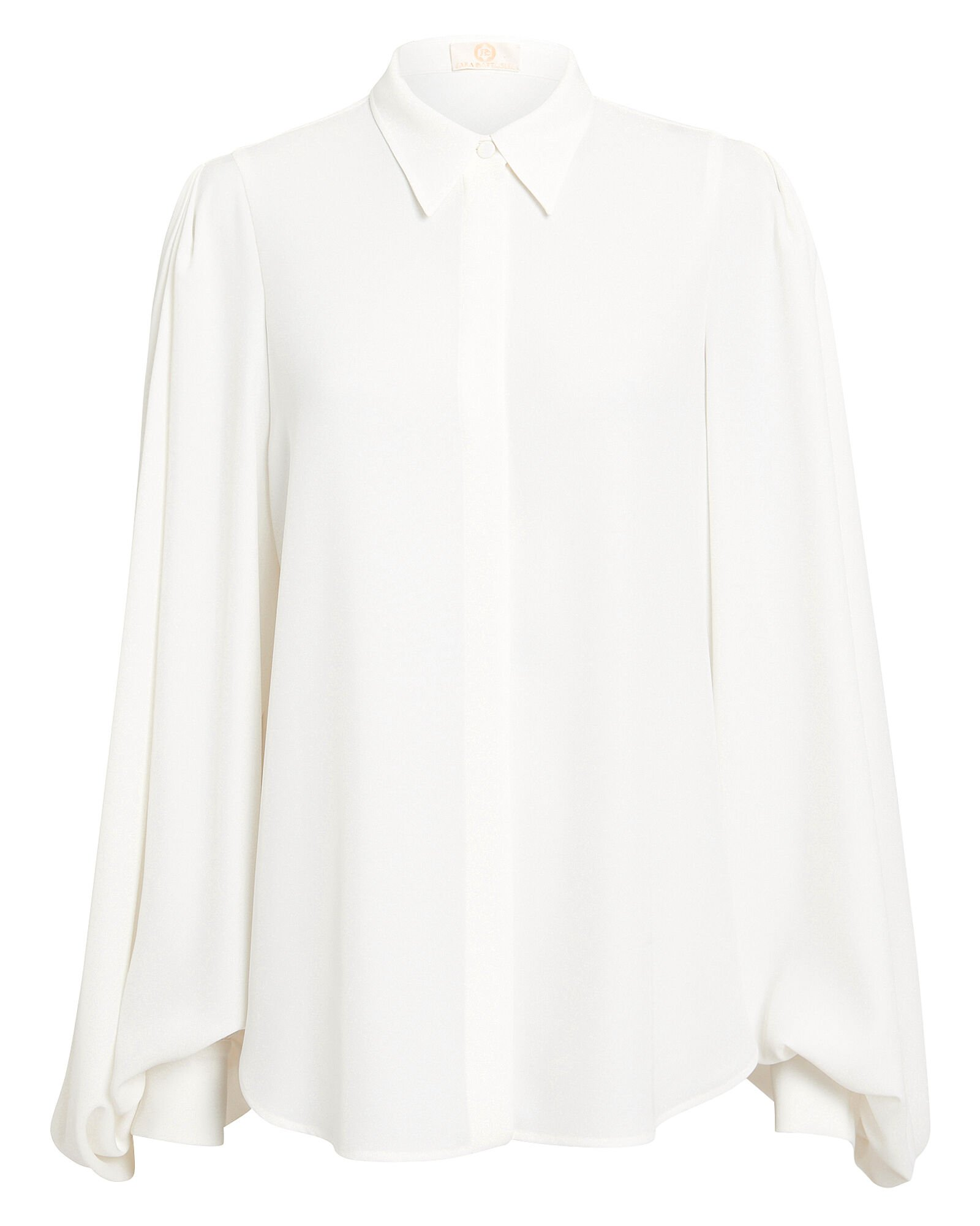 Balloon Sleeve Crepe Blouse, WHITE, hi-res
