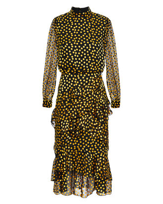 Isa Polka Dot Ruffle Midi Dress, BLACK/YELLOW POLKA DOT, hi-res