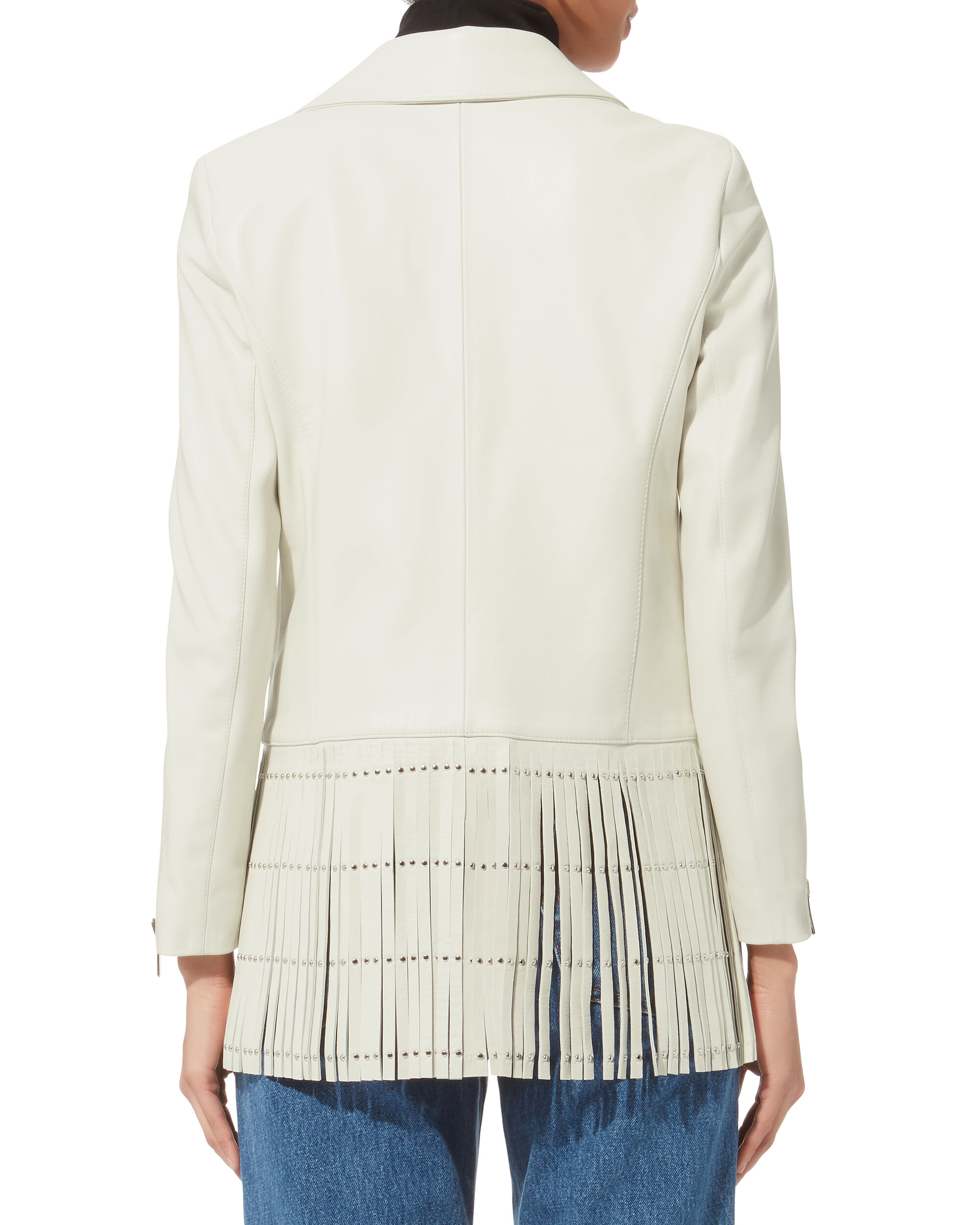 Saint White Fringe Leather Jacket, WHITE, hi-res