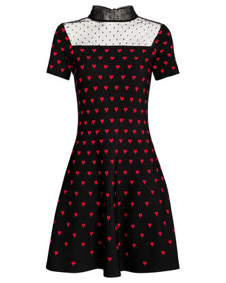 Jacquard Knit Heart Dress, BLACK/RED, hi-res