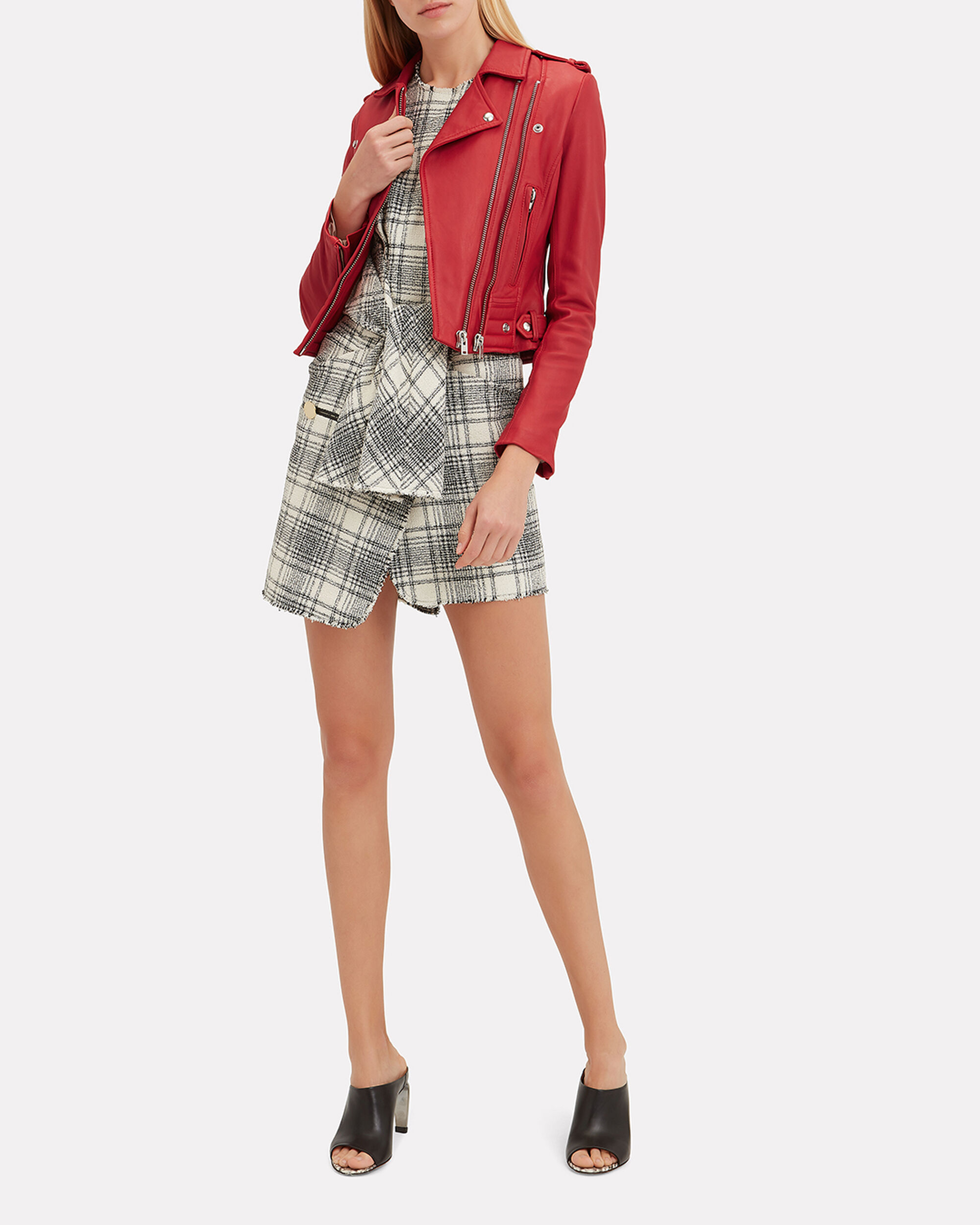 Luiga Red Leather Cropped Moto Jacket, RED, hi-res